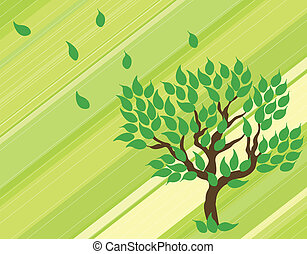 Tree on green background. Vector