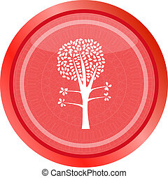 tree on icon button isolated on white