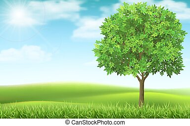 Tree on landscape background.