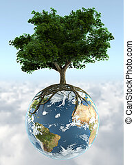 3d render of a tree growing on top of planet earth, whit clipping path ready for exact isolation from the background