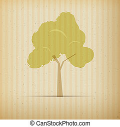 Tree on Recycled Paper Background - Tree on Recycled Paper,...