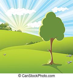 Tree on sundown - Illustration, landscape with tree on...