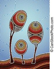 Tree on the hill, Aboriginal tree, Aboriginal art vector ...
