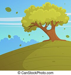 Tree on the hill - Cartoon illustration of tree on the hill,...