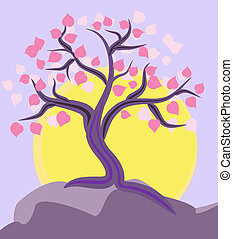 tree on the mountain top
