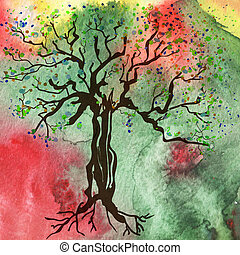 Tree on the watercolor background