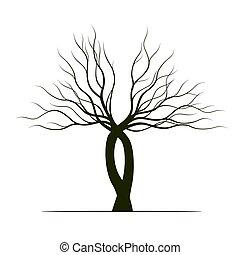 Tree on white background. Vector Illustration.