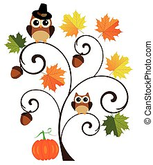tree owl - fall tree