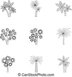Tree palm icons set, outline style