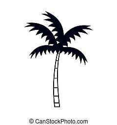 tree palm silhouette icon