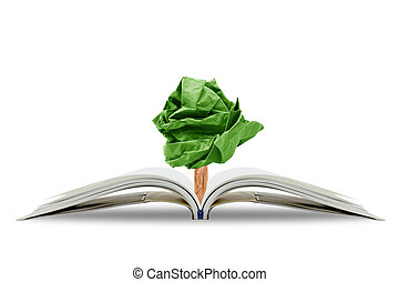 Tree paper growing from book, concept conservation of the environment, environmental protection