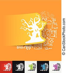 tree paper sticker with hand drawn elements