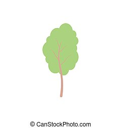 Tree paper trend style. Tree, Hedge and Bush natural element for landscape, card, web, banner, poster. Icon for branding, cover, poster.