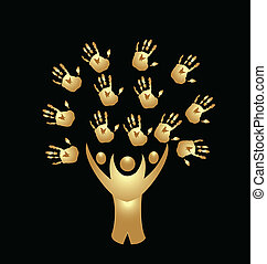Tree people and hands gold logo vector