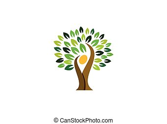 tree people logo, nature tree wellness logo symbol, natural tree people health logo icon vector design