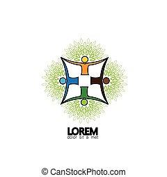 tree person logo vector icon representing friendship, embracing