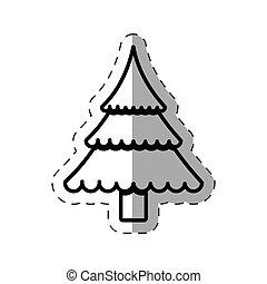 tree pine christmas cut line vector illustration eps 10