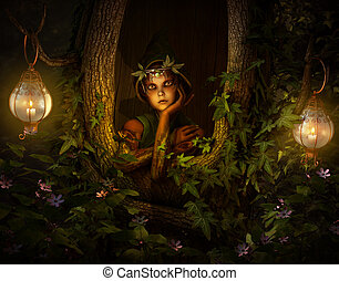 Tree Pixie, 3d CG - 3d computer graphics of a pixie who...