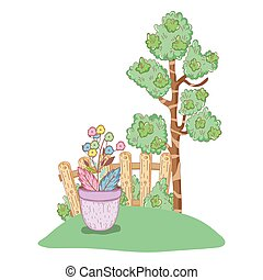 tree plant with flowers garden