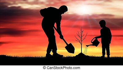 Tree planting. Silhouette vector illustration