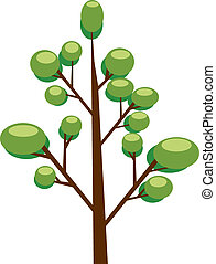 Tree plants with green leafs vector design.