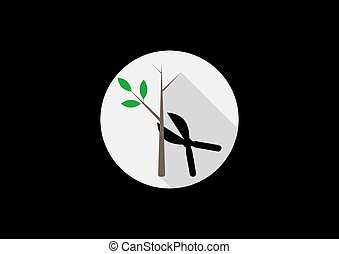 Tree pruning icons vector silhouette on white background in a round frame.