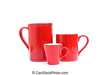 Tree red cups Isolated on white backgrounds