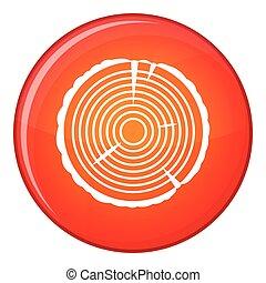 Tree ring icon, flat style