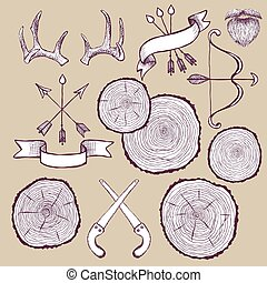 Tree rings set with bow,antlers and saw
