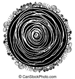 An image of a circular icon of tree roots and surrounding trees.