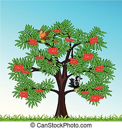 Tree rowanberry with berry year daytime.Vector illustration...