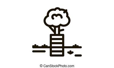 tree safe fence Icon Animation. black tree safe fence animated icon on white background