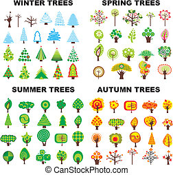 Tree Season Set - Set of trees located on seasons