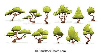 Tree set. Cartoon vector illustration, isolated on white.