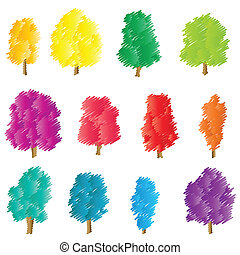 Tree set vector background stylized