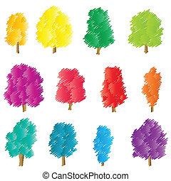 Tree set vector background stylized