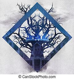 Tree shape horror house.