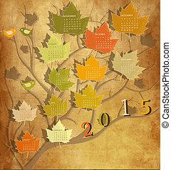 Vintage calendar for 2015