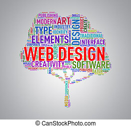 Tree shape wordcloud web design