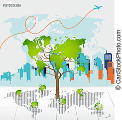 Tree shaped world map with building background. Vector...