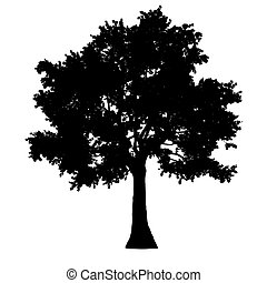 tree side view silhouette isolated - black - vector