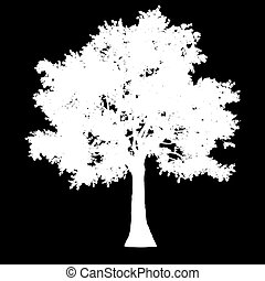 tree side view silhouette isolated - white - vector