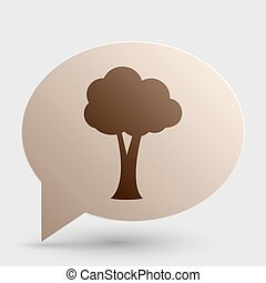 Tree sign illustration. Brown gradient icon on bubble with shadow.