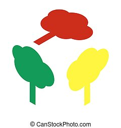 Tree sign illustration. Isometric style of red, green and yellow icon.