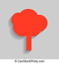 Tree sign illustration. Vector. Red icon with soft shadow on gray background.