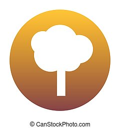 Tree sign illustration. White icon in circle with golden gradien