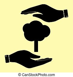 Save or protect symbol by hands. - Tree sign. Save or...
