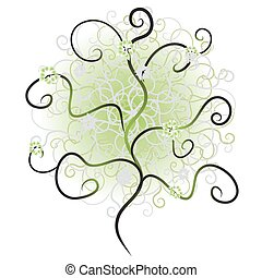 Tree silhouette, branch green
