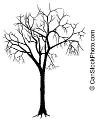 Tree Silhouette - Deciduous Tree - Black Silhouette, Vector