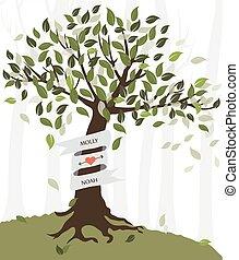 tree silhouette - wedding invitation card with tree